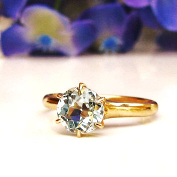Antique Engagement Ring 1.00ct Aquamarine Victorian/Edwardian Engagement Ring Vintage Allsopp Bros. Alternative Ring Aqua Bridal Jewelry!