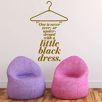 Wall Decals Quotes Vinyl Sticker Decal Art Home Decor Murals Decal Dress Quote Little Black Dress Clothes Lettering Girls Shopping Fashion Beauty Salon Decor Bedroom Dorm Decals AN158