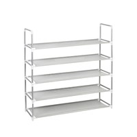 Gray 5-Shelf Standing Shoe Rack