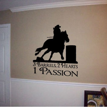 "Cowgirl Room Decor, Barrel Racer Vinyl Wall Art Decal 20"" x 22"", 3 Barrels, 2 Hearts, 1 Passion Quote"
