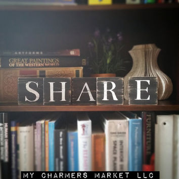 Share Sign, Share Art, Share Tile Letters, Share Wall Decor, Wooden Letter Blocks, Wood Letter Tiles, Shabby Chic Share Sign Set, Gift Idea