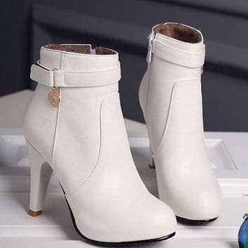 New Women White Round Toe Stiletto Zipper Casual Ankle Boots