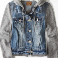 AEO Women's Denim Vested Hoodie (Medium Rinse)