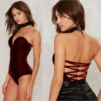 Velvet Bodysuits for Women 2017 Bandage Red Black Bodysuit Sexy Rompers Bodies Elegant Playsuits Off Shoulder Jumpsuit One Piece
