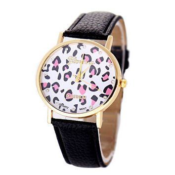 Womens Black Leather Strap Leopard Print Watch Girls Sports Casual Watches Best Christmas Gift