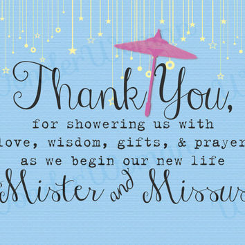 Wedding Shower Thank You Note- Mister and Missus Blue with Stars And Pink Umbrella