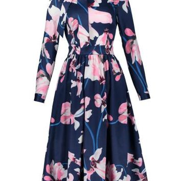 Tie Neck Flowers Pattern Women's Day Dress