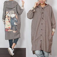 2016 women's  spring new arrival plus size  after rabbit with a hood stripe casual loose shirt