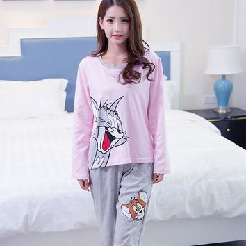 DCCKL3Z Spring and Autumn 100% Cotton 3XL Pyjamas Women Cartoon Cat and Mouse Pajama Sets Casual Sleepwear Pajamas for women female girl