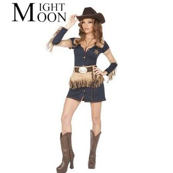 MOONIGHT Sexy Cowboy Costume Cosplay Costumes Halloween Christmas Costume For Women Femininas