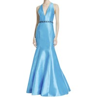 ML Monique Lhuillier Womens Open Back Trumpet Evening Dress