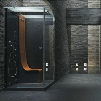 Multifunction rectangular steam shower cabin ΩMEGA by Jacuzzi Europe design Pininfarina