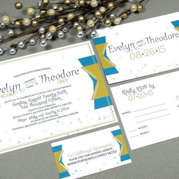 Champagne Art Deco Wedding Invitation Set by RunkPock Designs / Roaring Twenties Bubbles Banner Script Suite shown in blue , teal and gold
