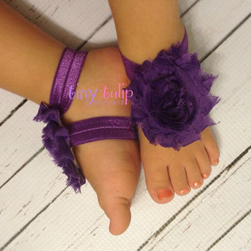 Baby Barefoot Sandals...Purple Barefoot Sandals...Newborn Sandals...Toddler Sandals..