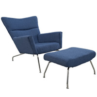 Hans J. Wegner Style Wing Chair & Ottoman | Blue Tweed