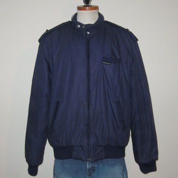 Vintage 80's MEMBERS ONLY Puffy Warm Navy Blue Racer Jacket - Size Medium to Large