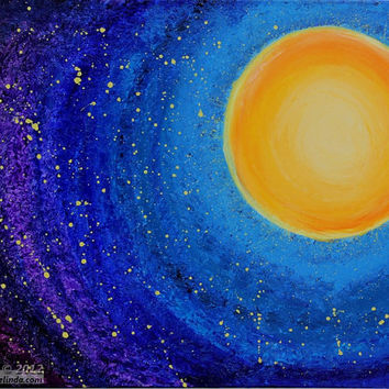 Original Acrylic Painting, Modern Art, Bedroom, Living Room, Child Room, Crib Room, Stars, Sun, Night Sky, Galaxies, Constellations, On Sale