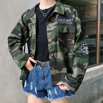 Vintage Military Camo Classic Padded Bomber Jacket Camouflage Coat Outwear for Women