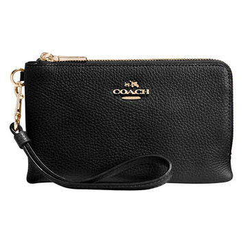 Coach Polished Pebble Leather Wristlet Purse at John Lewis