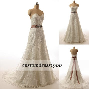 Vintage Sweetheart Sweep Train Bridal Gowns White/Ivory Handmade A-Line Lace Wedding Dresses