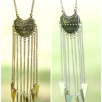 Tribal Temple Gold And Silver Arrow Fringe Necklaces