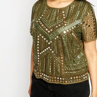 ASOS CURVE Festival T-Shirt with Mirror Embellishment