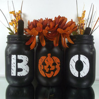 Halloween Themed Painted Mason Jars - Rustic-Style, Set of Three, Hand Painted Mason Jars