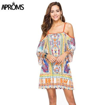 Aproms Boho Print Elegant Women Summer Dress 2018 Street Fashion Off Shoulder Dashiki Tunic Dresses Sundress European Vestidos