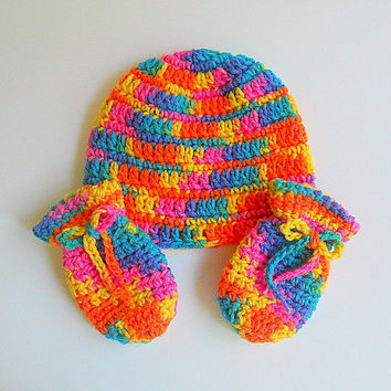 Baby  Mittens  Infant  Hat Set  Crochet Colorful Cap  3 - 6   Months  Bright Rainbow Boy Beanie  Children Girl Winter Clothing