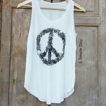 Peace Flower Tank Top Printed Tank top woman Beach Clothing Fitness top Summer fashion tshirt Vintage tank tops for woman Shorts Pants Jeans