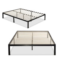 Queen size Black Metal Platform Bed Frame with Wood Slats - No Box-spring Needed