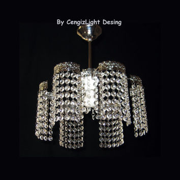 New Elegant Glass Crystal Ceiling Light Chrome Plated Chandelier Lights Pendant