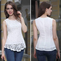 Sleeveless Women's Fashion Lace Chiffon Round-neck Blouse = 5893506113