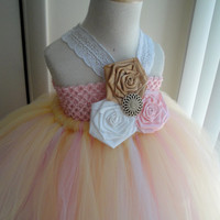 Rustic gold,pink &white flower girl tutu dress