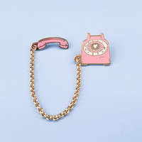 Rotary Dial Telephone Pin - Pink