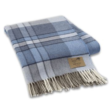 Mod Plaid Lambswool Throw Blue by Lands Downunder