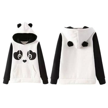 Kawaii Hoodies Chinese Panda Cartoon Printed Sweatshirts For Women With Ears Hoody Casual Cute hoodies