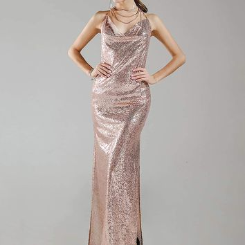 Split Thigh Backless Sequin Draped Pink Dress