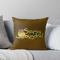 'Pirate Talk Text - Scurvy Scoundrel' Throw Pillow by Gravityx9