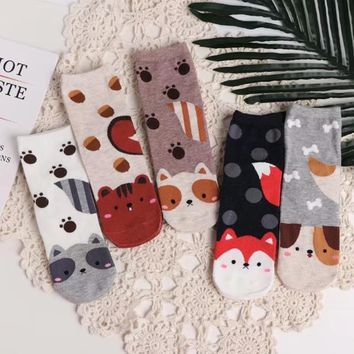 Cartoon Animal Puppy Pure CottonFunny Socks Funny Crazy Cool Novelty Cute Fun Funky Colorful