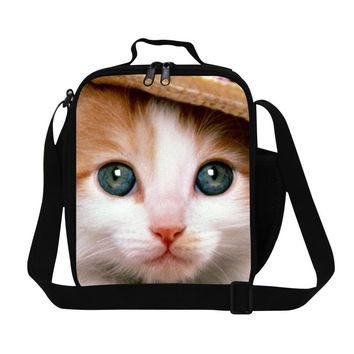 Cute Cat Lunch Coolers for Girls,Insulated Lunch bags for Children,Women reusable lunch containers for work,picnic food bag kids