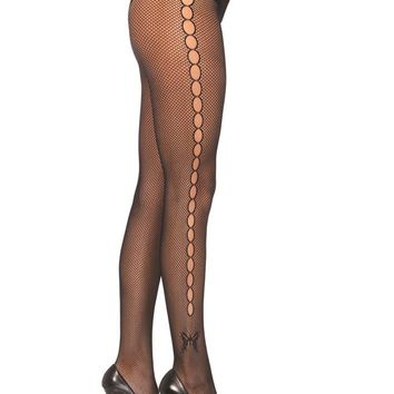 Leg Avenue Female Seamless Lycra Fishnet Pantyhose W/Open Hole Butterfly Side 9710