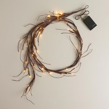 Brown Wrapped Willow Garland Lights - World Market