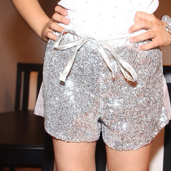sparkle shorts, sequin pants, sequin shorts, silver, gold, kids, children's, girls, party shorts, disco shorts, glitter