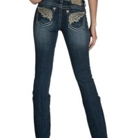 Miss Me Medium Wash Large Wings with Sequins Open Pockets Boot Cut Jeans