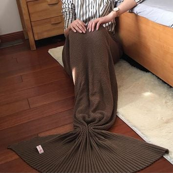 Knitted Mermaid Sofa Blanket Autumn&Winter HEAVY HIGH QUALITY Light Coffee