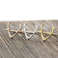 2016 Hot Selling Antler Animal  Rings for Women Simple Alloy Cute Horn Midi  Ring Wedding  ring in Gold  Silver Rose Gold JZ136