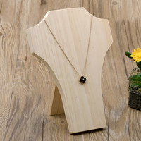 Wood Necklace Display Bust Pendant Display Stand Nature Wood Jewelry Display Holder