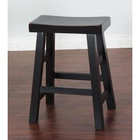 Sunny Designs Vintage Black Saddle Seat Stool In Dark Chocolate