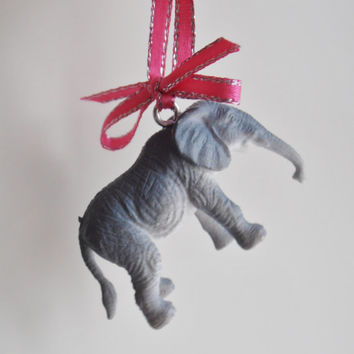 Retro Kitsch Christmas Elephant Ornament with Pink Ribbon and Bow